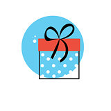 Line Icon with Flat Graphics Element of Gift Box Vector Illustra