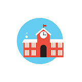 Line Icon with Flat Graphics Element of School Building Vector I