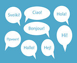 Set of Speech Bubble with Hello Word on Different Languages (Dan