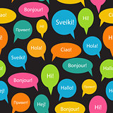Seamless Pattern Background of Speech Bubble with Hello Word on