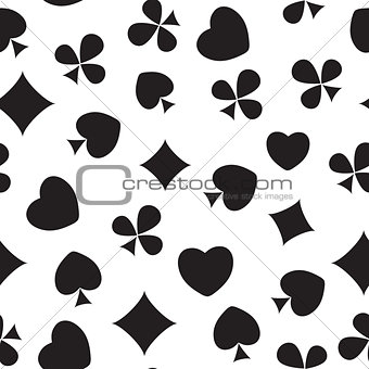 Abstract Seamless Pattern Background with Card Suits. Vector Ill