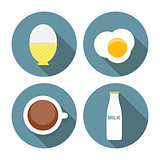 Scrambled Egg, Soft-Boiled Egg, Milk, Coffee Icon Set Vector Ill