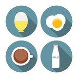 Scrambled Egg, Soft-Boiled Egg, Milk, Coffee Icon Set Vector Ill