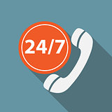 Customer service 24/7 Icon Vector Illustration