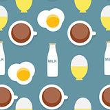 Scrambled Egg, Soft-Boiled Egg, Milk, Coffee Seamless Pattern Br
