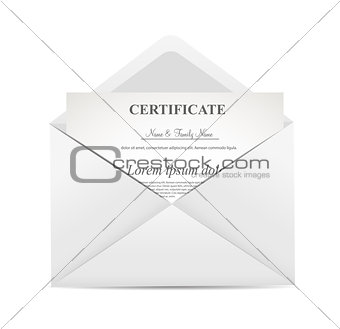 Certificate in Envelope  Vector Illustration