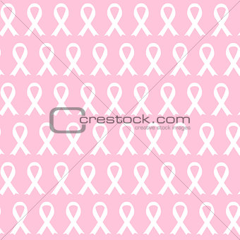 Breast Cancer Awareness Pink Ribbon Seamless Pattern Background
