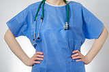 Confident doctor in blue uniform