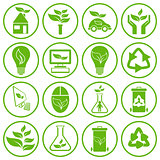 Set of sixteen ecology icons