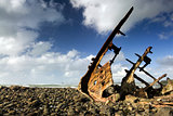 Shipwreck on beach at low tide, New Plymouth, New Zealand