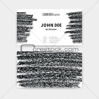 Business cards Chalk stripes black