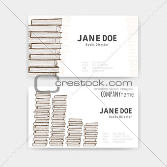 Business cards with books texture