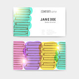 Business cards with colorful books texture