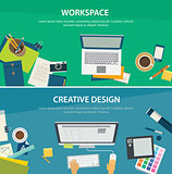 workspace and creative design banner template