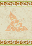 Vector grungy aloha background with tropical hibiscus flower