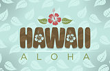 Vector illustration of Hawaii and aloha word