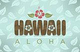 Vector illustration of Hawaii and aloha word