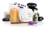 Spa still life with lavender salt