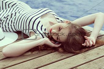 relaxing trendy girl in summertime
