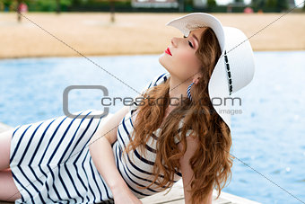 beautiful girl relaxing in summer