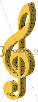 3d treble golden clef