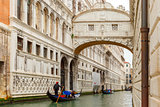 Venice gondolas in rainy weather, Italy