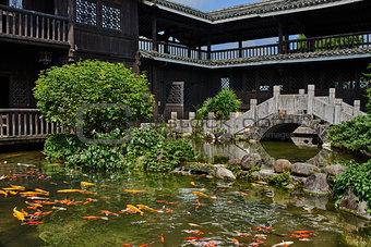 koi fish pond Shangri La Guilin Yangshuo Guangxi  China