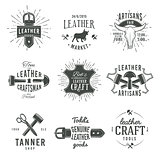Second set of grey vector vintage craftsman logo designs, retro genuine leather tool labels. artisan craft market insignia illustration