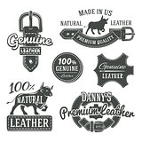 Set of vector vintage belt logo designs, retro quality labels. genuine leather illustration