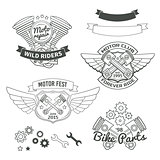 Set of biker vintage labels, oldschool motor logo vector design elements.