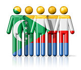 Flag of Comoros on stick figure