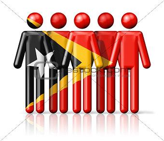 Flag of East Timor on stick figure