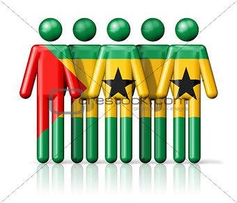 Flag of Sao Tome and Principe on stick figure