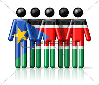 Flag of South Sudan on stick figure