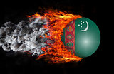 Flag with a trail of fire and smoke - Turkmenistan