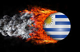 Flag with a trail of fire and smoke - Uruguay
