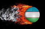 Flag with a trail of fire and smoke - Uzbekistan
