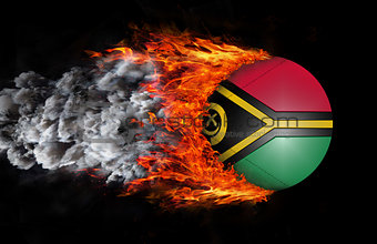Flag with a trail of fire and smoke - Vanuatu