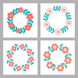 Floral Frame Collection. Cute retro flowers arranged un a shape of the wreath perfect for wedding invitations and birthday cards