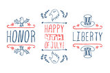 Hand-sketched independence day typographic elements