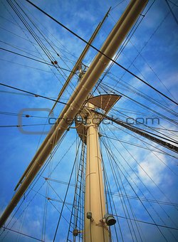 A mast on a sailing boat