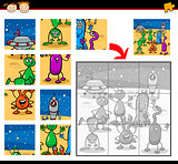 cartoon aliens jigsaw puzzle game
