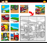 cartoon vehicles jigsaw puzzle game