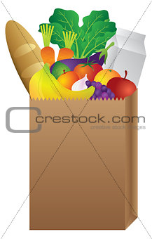 Grocery Paper Bag of Food