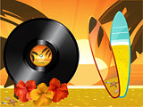 Summer sunset background with vinyl record surfing board hibiscu