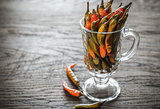 Marinated peppers in the glass