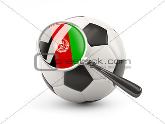 Football with magnified flag of afghanistan