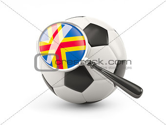 Football with magnified flag of aland islands