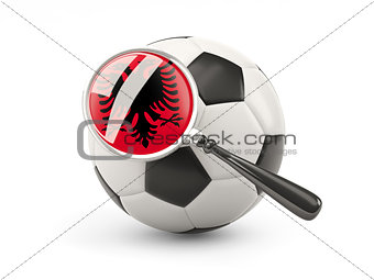 Football with magnified flag of albania