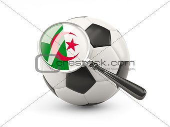 Football with magnified flag of algeria